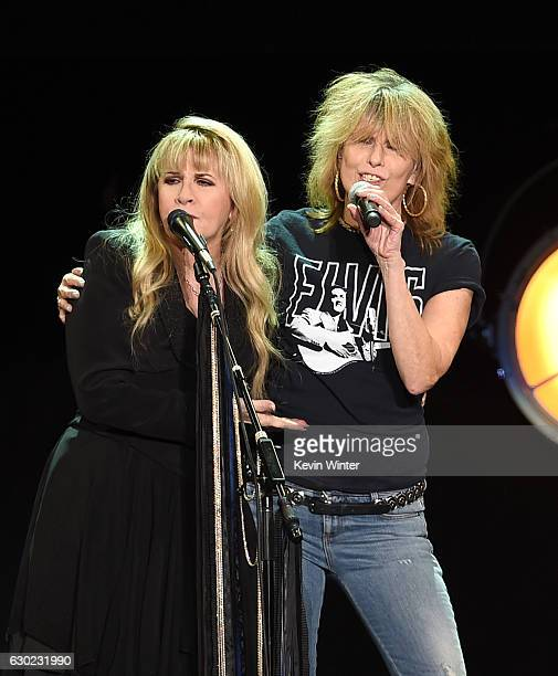 Singer/songwriter Stevie Nicks and musician Chrissie Hynde of The Pretenders perform at The Forum on December 18 2016 in Inglewood California