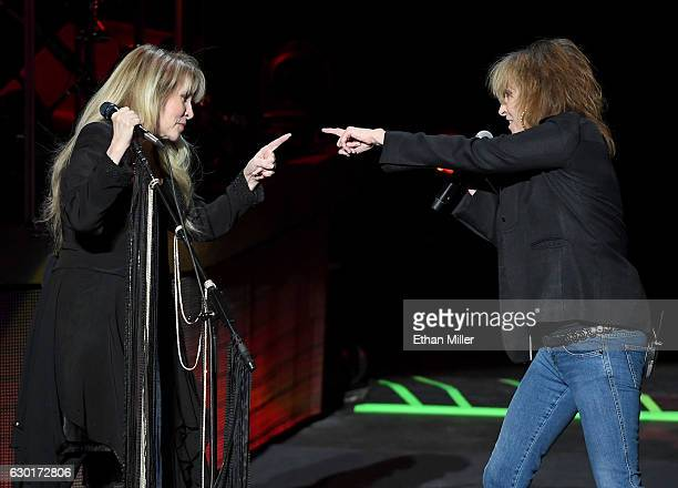 Singer/songwriter Stevie Nicks is joined onstage by recording artist Chrissie Hynde of The Pretenders during the grand opening of Park Theater at...