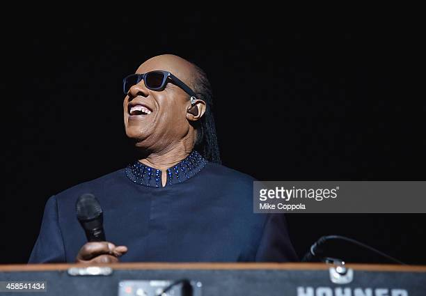 Singer/songwriter Stevie Wonder performs on the first night of his Songs In The Key Of Life Tour at Madison Square Garden on November 6 2014 in New...