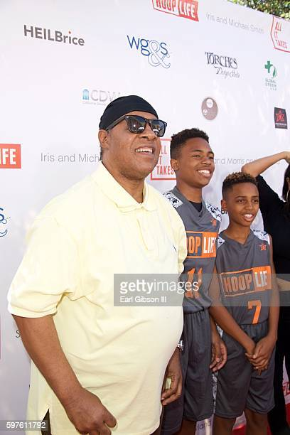 Singer/Songwriter Stevie Wonder sons Kailand Morris and Mandla Morris pose for a photo at the 4th Anual Kailand Obasi HoopLife Fundraiser at USC...