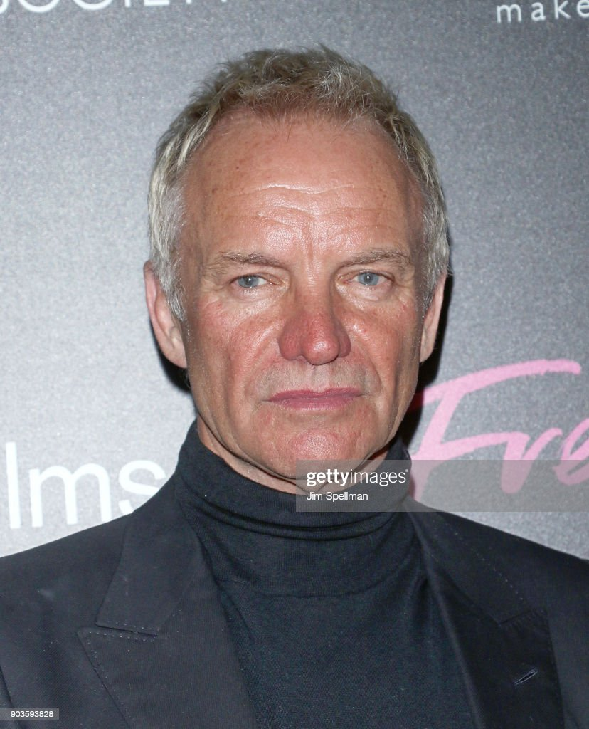 Singer/songwriter Sting attends the premiere of IFC Films' 'Freak Show' hosted by The Cinema Society and Bluemercury at Landmark Sunshine Cinema on January 10, 2018 in New York City.