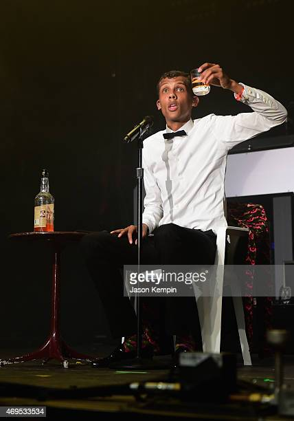 Singersongwriter Stromae performs onstage during day 3 of the 2015 Coachella Valley Music Arts Festival at the Empire Polo Club on April 12 2015 in...