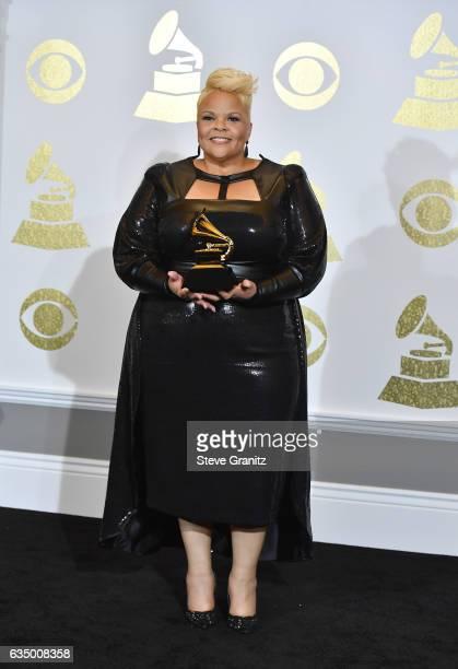Singer/songwriter Tamela Mann winner of the Best Solo Gospel Performance/Song Award for 'God Provides' poses in the press room during The 59th GRAMMY...