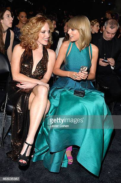 Singersongwriter Taylor Swift and Abigail Anderson during The 57th Annual GRAMMY Awards at the STAPLES Center on February 8 2015 in Los Angeles...