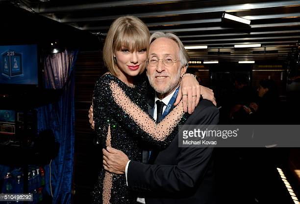 Singer/songwriter Taylor Swift and Recording Academy President/CEO Neil Portnow attend The 58th GRAMMY Awards at Staples Center on February 15 2016...