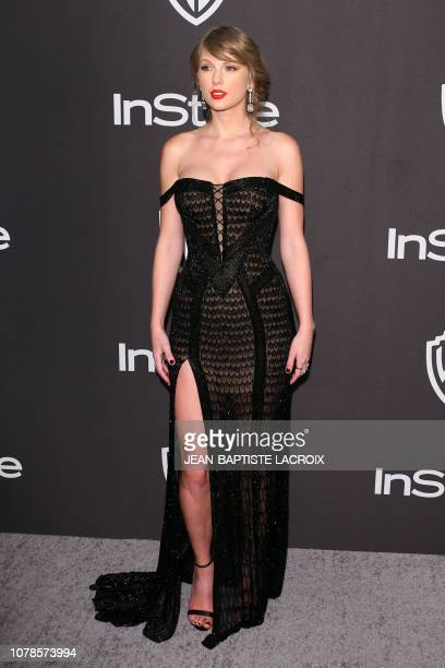 US singersongwriter Taylor Swift arrives for the Warner Bros and In Style 20th annual post Golden Globes party at the Oasis Courtyard of the Beverly...