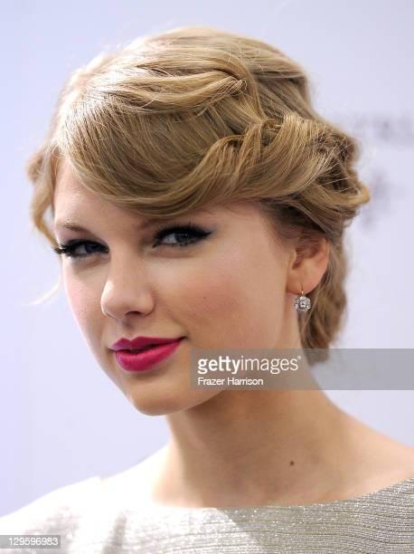 Singer/songwriter Taylor Swift celebrates the launch of her new debut fragrance Wonderstruck at Sephora Americana on October 18 2011 in Glendale...