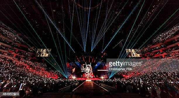 Singer-songwriter Taylor Swift performs onstage during Taylor Swift The 1989 World Tour Live In Los Angeles at Staples Center on August 22, 2015 in...