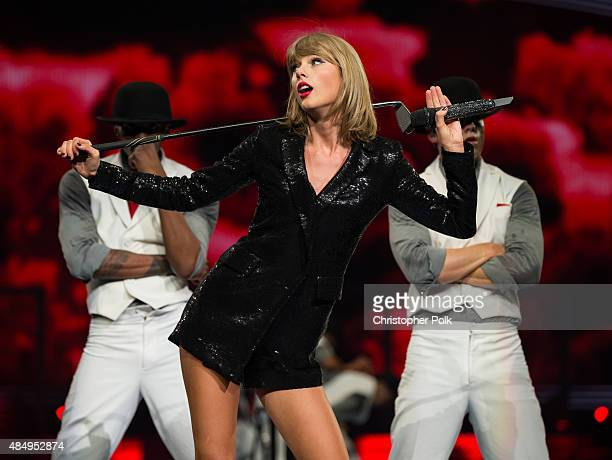 Singersongwriter Taylor Swift performs onstage during Taylor Swift The 1989 World Tour Live In Los Angeles at Staples Center on August 22 2015 in Los...
