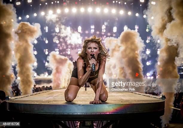 Singer-songwriter Taylor Swift performs onstage during The 1989 World Tour Live In Los Angeles at Staples Center on August 21, 2015 in Los Angeles,...