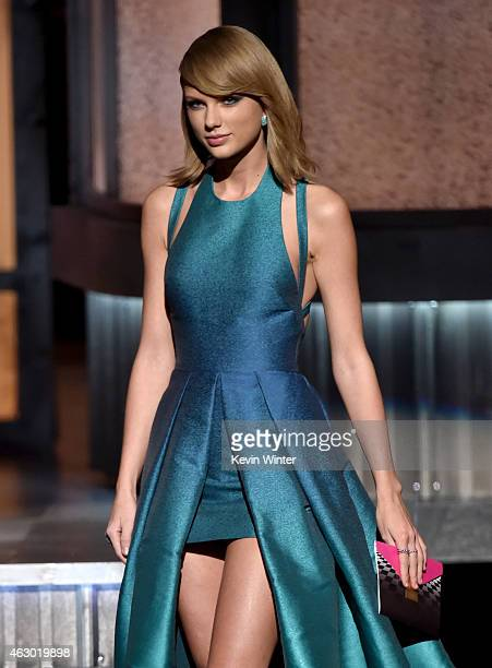 Singersongwriter Taylor Swift speaks onstage during The 57th Annual GRAMMY Awards at the STAPLES Center on February 8 2015 in Los Angeles California
