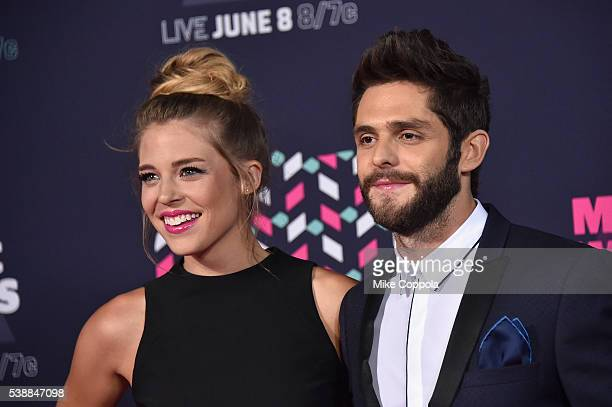 Singersongwriter Thomas Rhett and wife Lauren Gregory attends the 2016 CMT Music awards at the Bridgestone Arena on June 8 2016 in Nashville Tennessee