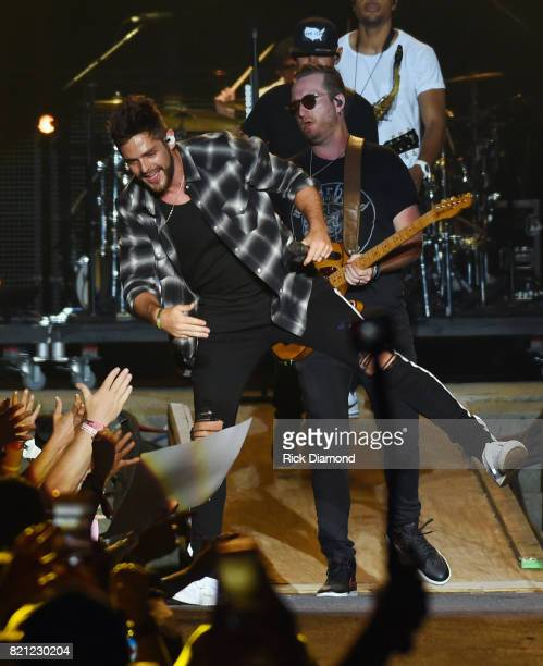 Singer/Songwriter Thomas Rhett performs during Country Thunder In Twin Lakes Wisconsin Day 3 on July 22 2017 in Twin Lakes Wisconsin
