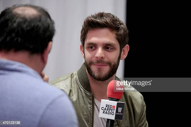 Singer/songwriter Thomas Rhett speaks at the Red Carpet Radio presented by Westwood One Radio during the 50th Academy Of Country Music Awards at...