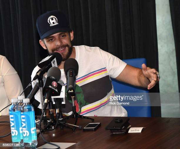 Singer/Songwriter Thomas Rhett takes questions from the press during 'Life Changes' Lunch Listen with Thomas Rhett at WME on August 23 2017 in...