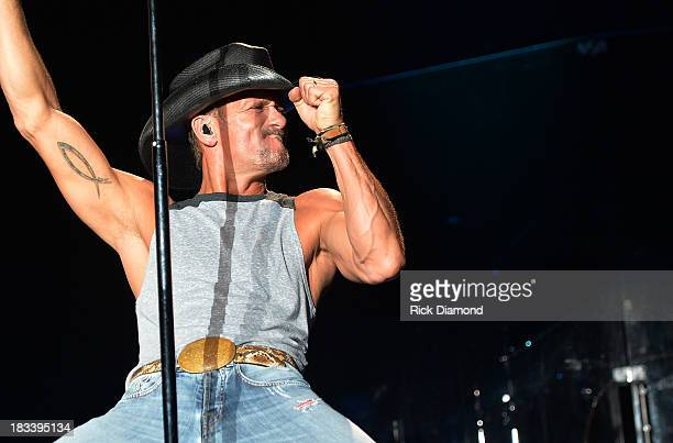 Singer/Songwriter Tim McGraw performs during the First Annual Delta Country Jam Day 2 on the Hollywood Casino back lot October 5 2013 in Tunica...