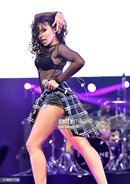 Singer/songwriter Tinashe performs onstage during the Nicki Minaj NeYo Tinashe Rae Sremmurd concert at Staples Center on June 26 2015 in Los Angeles...