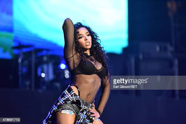 Singer/songwriter Tinashe performs onstage during the Nicki Minaj NeYo Tinashe Rae Sremmurd concert at Staples Center on June 26 2015 in Los Angeles...