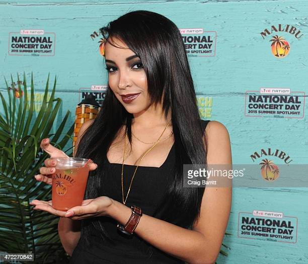 Singersongwriter Tinashe stopped by the Malibu bar to enjoy specialty cocktails at Live Nation's National Concert Day at Irving Plaza on May 5 2015...