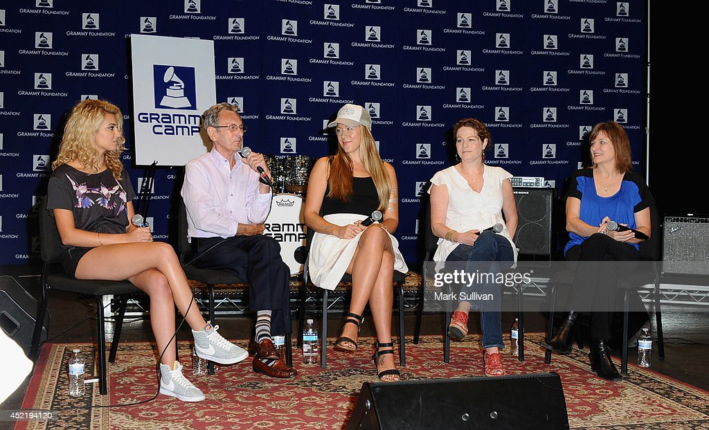 Singer/songwriter Tori Kelly, recording engineer Al Schmitt, singer/songwriter Colbie Caillat, GRAMMY Foundation Board member Amanda Marks and Recording Academy Chair Christine Albert at the GRAMMY Foundations 10th annual GRAMMY Camp held at the University of Southern California on July 15, 2014 in Los Angeles, California. Information at GRAMMYintheSchools.com.