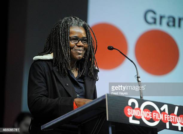 Singer/songwriter Tracy Chapman speaks onstage at the Awards Night Ceremony at Basin Recreation Field House during the 2014 Sundance Film Festival on...
