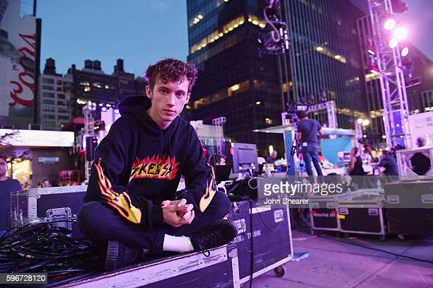 Singersongwriter Troye Sivan poses for a photo during rehearsals for the 2016 MTV Video Music Awards on August 27 2016 in New York City