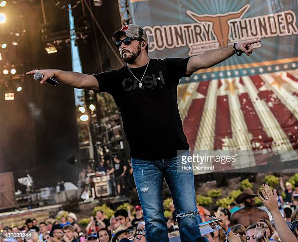 Singer/Songwriter Tyler Farr performs at Country Thunder Day 3 on July 23 2015 in Twin Lakes Wisconsin