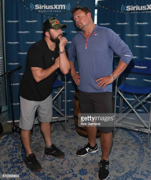 Singer/Songwriter Tyler Farr visits with Storme Warren during SiriusXM The Highway at SiriusXM Music City Studios on April 19 2017 in Nashville...