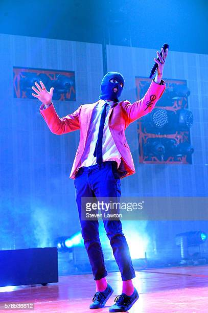 Singer/songwriter Tyler Joseph of Twenty One Pilots performs at The Joint inside the Hard Rock Hotel Casino on July 15 2016 in Las Vegas Nevada