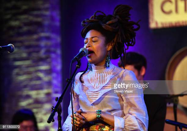 Singer/songwriter Valerie June performs at Americanafest PreGrammy Salute to Emmylou Harris at City Winery on January 27 2018 in New York City