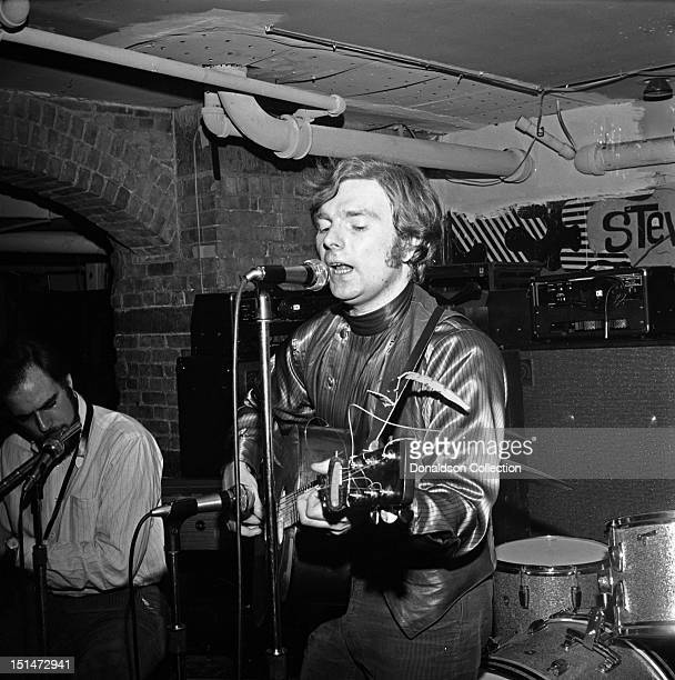 Singer/songwriter Van Morrison performs with flutist Artie Kaplan and his upright bass player at a Warner Brothers party at Steve Paul's The Scene...