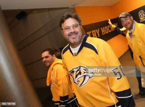 Singersongwriter Vince Gill attends the Stanley Cup Finals Game 4 Nashville Predators Vs Pittsburgh Penguins at Bridgestone Arena at Bridgestone...