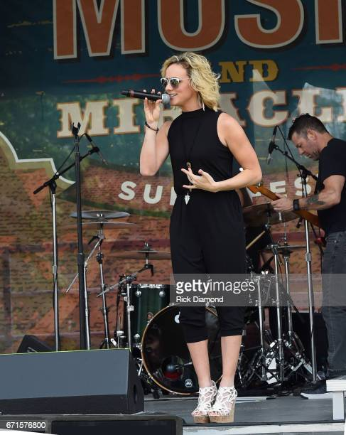 """Singer/Songwriter """"Voice Alum"""" Adley Stump performs during Music And Miracles Supperfest - FanFest Tail Gate Party at Jordan-Hare Stadium on April..."""