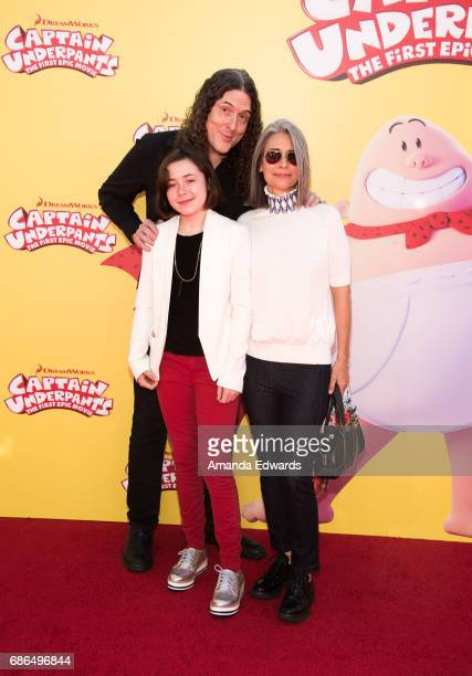 Singersongwriter Weird Al Yancovic his wife Suzanne Krajewski and their daughter Nina Yancovic arrive at the premiere of 20th Century Fox's Captain...