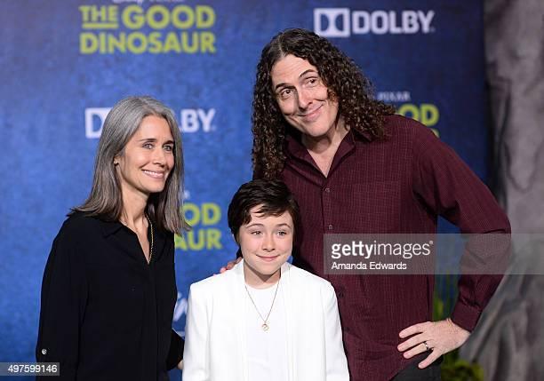 Singersongwriter Weird Al Yankovic his wife Suzanne Krajewski and their daughter Nina Yankovic arrive at the premiere of DisneyPixar's The Good...