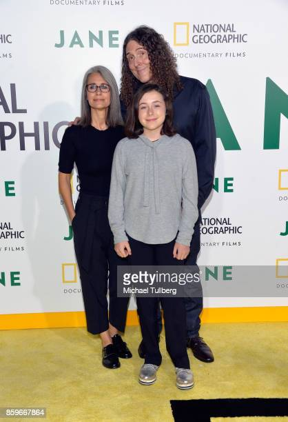 Singersongwriter 'Weird Al' Yankovic his wife Suzanne Yankovic and their daughter Nina Yankovic arrive at the premiere of National Geographic...