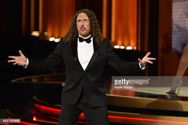 Singer/songwriter 'Weird Al' Yankovic performs onstage at the 66th Annual Primetime Emmy Awards held at Nokia Theatre LA Live on August 25 2014 in...