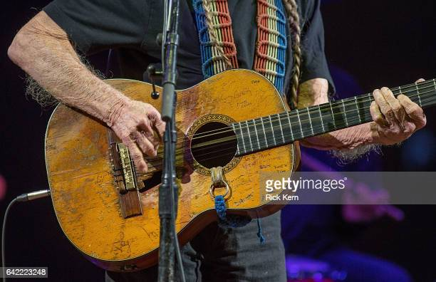 Singersongwriter Willie Nelson guitar detail performs in concert as part of the San Antonio Stock Show Rodeo at the ATT Center on February 16 2017 in...