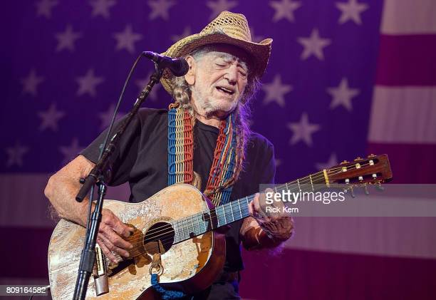 Singersongwriter Willie Nelson performs onstage during the 44th Annual Willie Nelson 4th of July Picnic at Austin360 Amphitheater on July 4 2017 in...