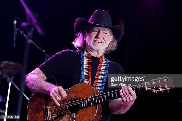 Singer/songwriter Willie Nelson performs to a sold out crowd during his 4th of July Picnic at The Backyard on July 4 2010 in Austin Texas