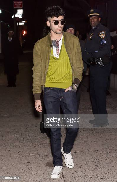 Singersongwriter Zayn Malik is seen arriving to Tom Ford Women's Fall/Winter 2018 fashion show during New York Fashion Week at Park Avenue Armory on...