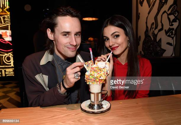Singersongwriter/actor Reeve Carney and actress Victoria Justice attend the grand opening of Black Tap Craft Burgers Beer at The Venetian Las Vegas...