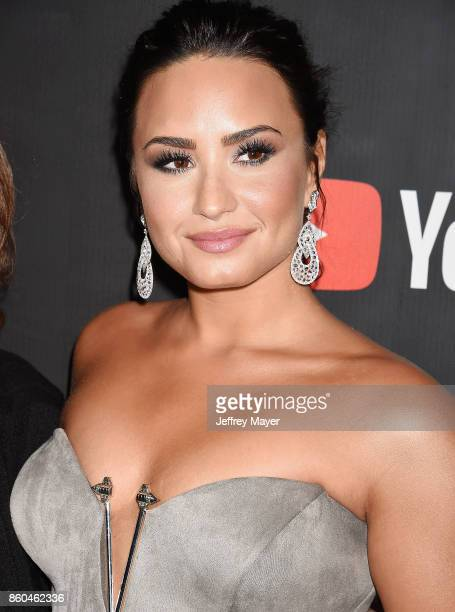 Singersongwriteractress Demi Lovato arrives at the Premiere Of YouTube's 'Demi Lovato Simply Complicated' at the Fonda Theatre on October 11 2017 in...