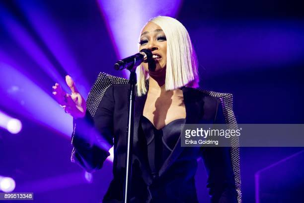 Singer/songwriter/actress Monica performs during The Great Xscape Tour at Smoothie King Center on December 28 2017 in New Orleans Louisiana
