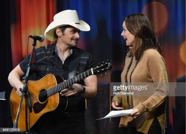 Singer/Songwriter/Comedian Brad Paisley is joined on stage by Actress Kimberly Paisley Williams during the Nashville Comedy Festival presented by...