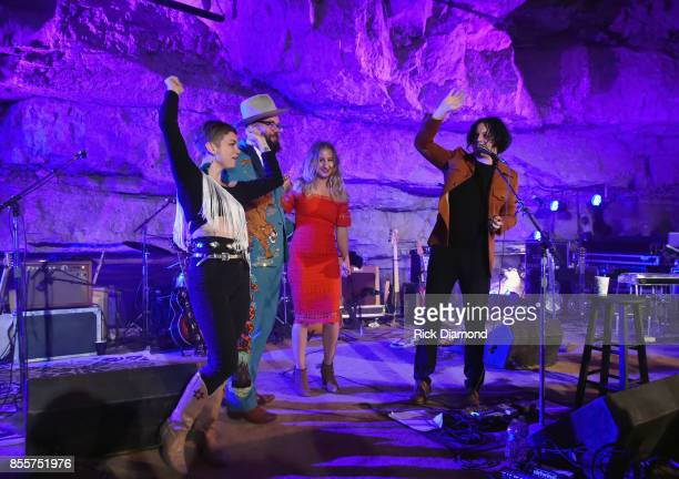 Singer/Songwriter/Host Jack White with Singers/Songwriters Lillie Mae Joshua Hedley and Margo Price attend Tennessee Tourism Third Man Records 333...