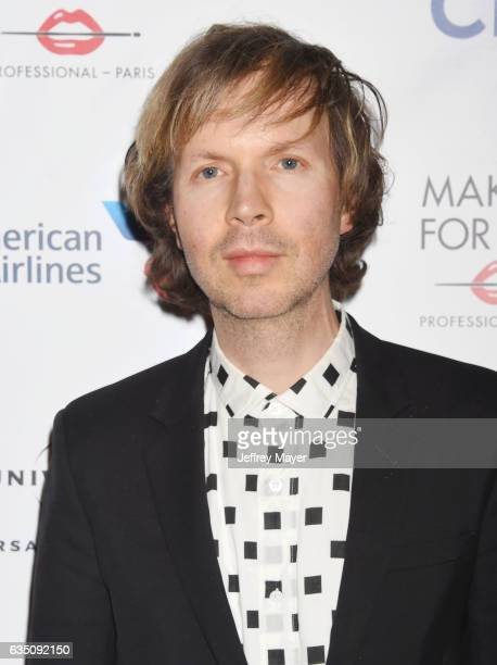 Singersongwritermusician Beck arrives at the Universal Music Group's 2017 GRAMMY After Party at The Theatre at Ace Hotel on February 12 2017 in Los...