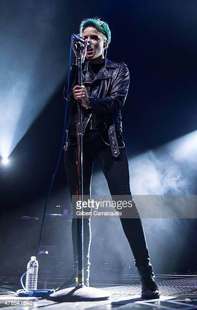 Singer/songwriter/musician Halsey performs during Imagine Dragons Smoke Mirrors Tour at Wells Fargo Center on June 27 2015 in Philadelphia...