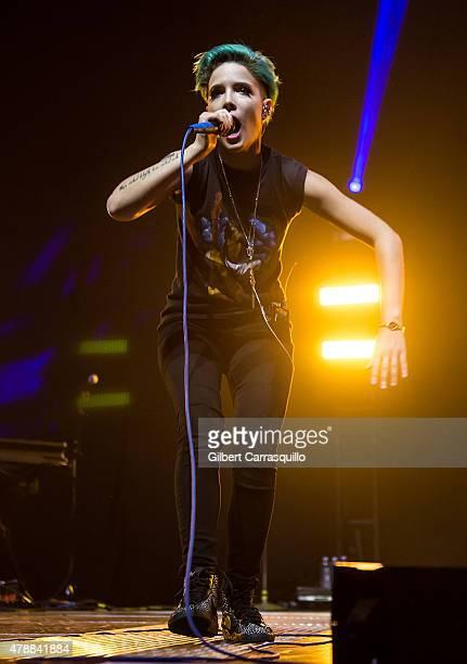 Singer/songwriter/musician Halsey performs during Imagine Dragons Smoke + Mirrors Tour at Wells Fargo Center on June 27, 2015 in Philadelphia,...
