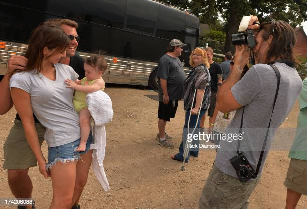 Singer/Songwriter/Photographer Jake Owen photographs his Wife/Model Lacey Buchanan Photo Bomber GAC's Storme Warren and Daughter Pearl backstage at...